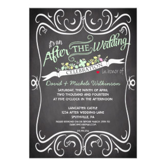 Flowers Swirls Chalkboard Post Wedding Invite