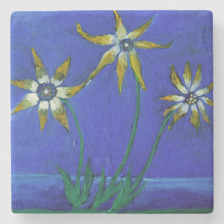 Flowers textured art Marble Stone Coaster