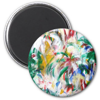 FLOWERS the abstract ~ 2 Inch Round Magnet