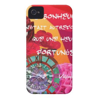 Flowers , time and happiness message iPhone 4 cover
