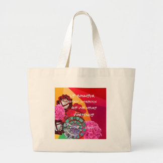 Flowers , time and happiness message. large tote bag