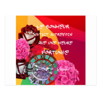 Flowers , time and happiness message postcard