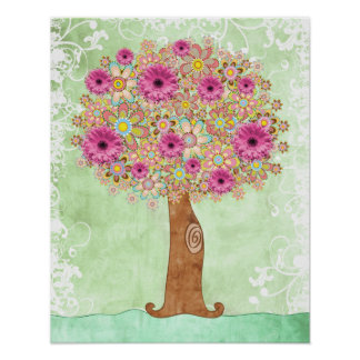 Flowers Tree and Green Floral poster - TBA