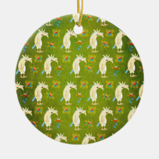 Flowers & Unicorns Round Ceramic Ornament