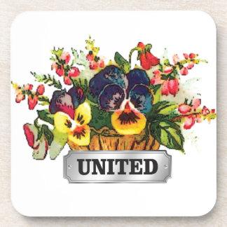 flowers united beverage coaster