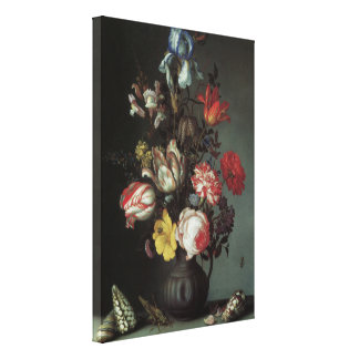 Flowers Vase Shells Insects, Balthasar van der Ast Stretched Canvas Prints