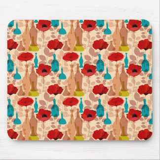 Flowers, vases and bottles pattern mouse pad