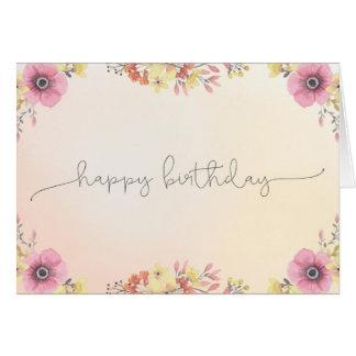 Flowers Watercolor Happy Birthday Card