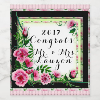FLOWERS WEDDING 5 WINE LABLE BOTTLE WINE LABEL