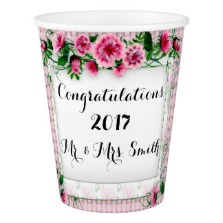 FLOWERS WEDDING CUSTOM  PAPER CUP