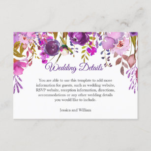 Flowers Wedding Details Reception Enclosure Card