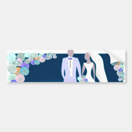 Flowers with Bride & Groom Bumper Stickers