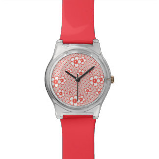 Flowers with hearts and circles (red and white) watch