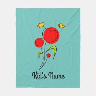 Flowers with Hearts Fleece Blanket