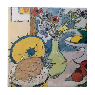 Flowers with Pineapple, after Matisse Tile