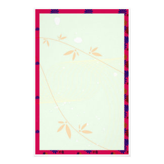 flowers with red frame stationery paper