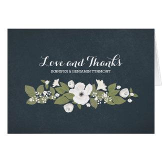 Flowers wreath cute vintage wedding thank you card