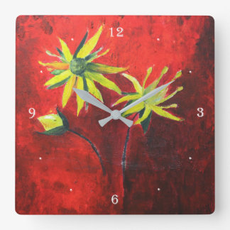 Flowers Yellow Art Painting Square Wall Clock
