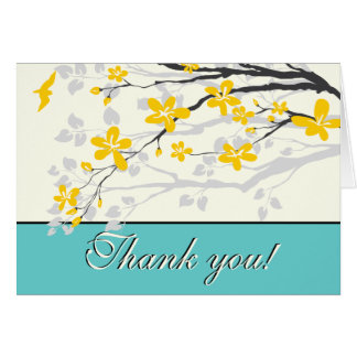 Flowers yellow turquoise wedding Thank you card