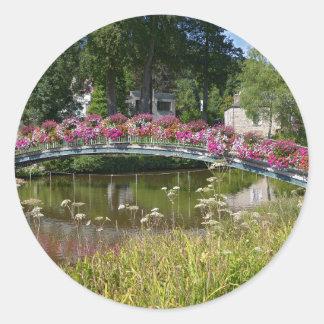 Flowery bridge at Bagnoles-de-l'Orne Classic Round Sticker