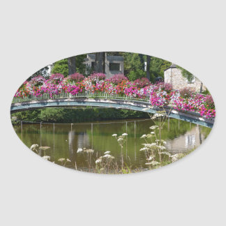 Flowery bridge at Bagnoles-de-l'Orne Oval Sticker