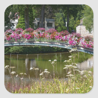 Flowery bridge at Bagnoles-de-l'Orne Square Sticker