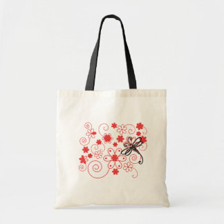 Flowery Dragonfly Art Tote Bag