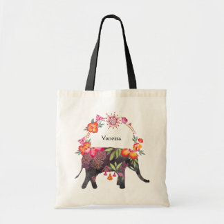 Flowery Elephant with Mandala Wreath Tote Bag
