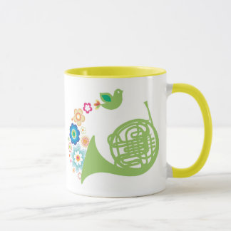Flowery French Horn Music Gift Mug