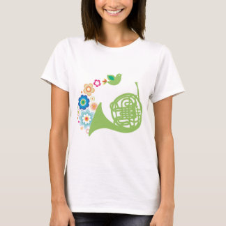 Flowery French Horn Music Gift T-Shirt