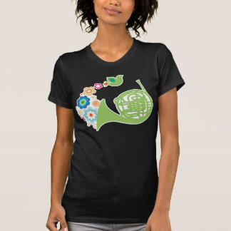Flowery French Horn Music Gift Womens Tee Shirt