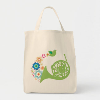 Flowery French Horn Music Totebag Gift