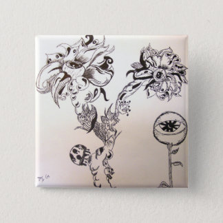 Flowery Grave 2 Inch Square Button