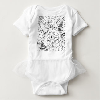 Flowery Indonesian Textile with Birds Baby Bodysuit