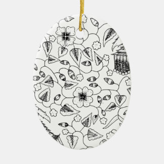 Flowery Indonesian Textile with Birds Ceramic Oval Ornament