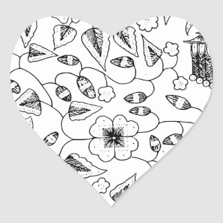 Flowery Indonesian Textile with Birds Heart Sticker