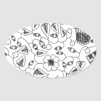 Flowery Indonesian Textile with Birds Oval Sticker