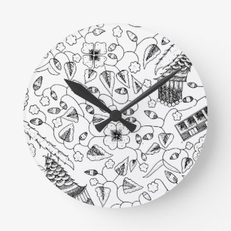 Flowery Indonesian Textile with Birds Round Clock