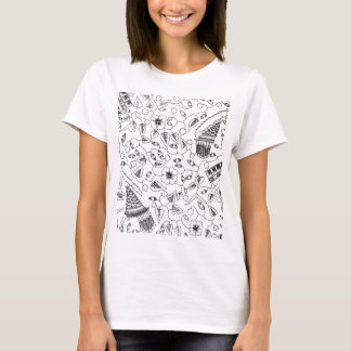 Flowery Indonesian Textile with Birds T-Shirt