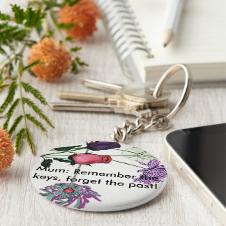 Flowery keyring for mums basic round button keychain