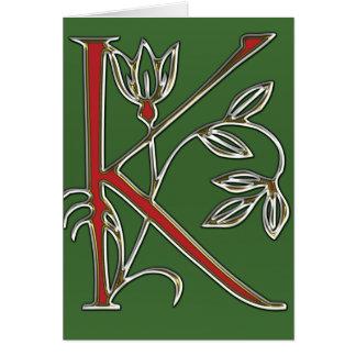 Flowery Letter k Card
