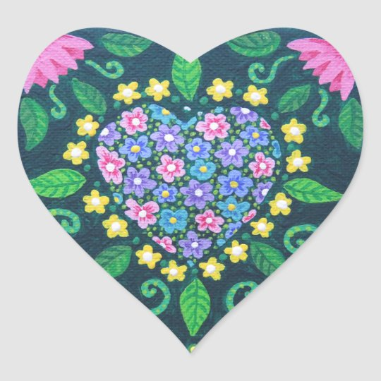 Flowery Love Heart Sticker