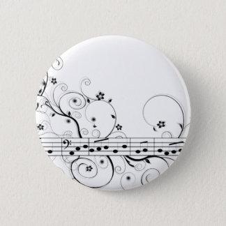 Flowery Music 2 Inch Round Button