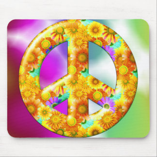 Flowery Peace Sign Mouse Pad
