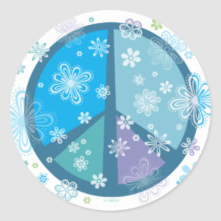 Flowery Peace sign Stickers