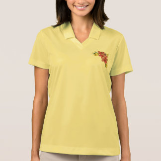 Flowery poinsettias polo shirt yellow