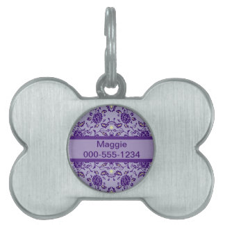 Flowery Purple Damask Pet Tag