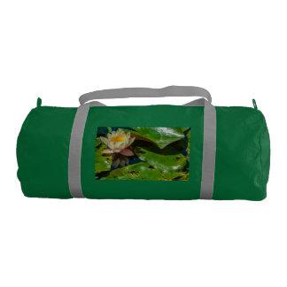 flowery waterlily on emerald Duffle Gym Bag, Gym Bag
