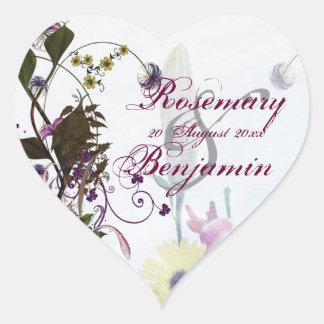 Flowery Wedding Bouquet Heart Sticker