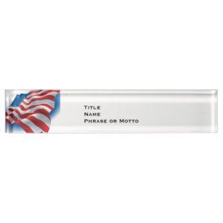Flowing American Flag red white blue Name Plate